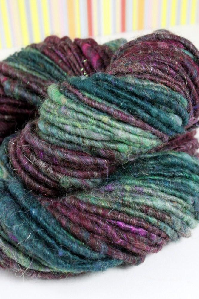 Striping corespun, handspun art yarn