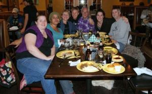 Post SAFF dinner with Jacey Boggs (Insubordiknit) Otto and Joanne Strauch (Strauch Fiber Company) and friends